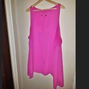 Tops - Pink V Neck Sleeveless Blouse 2X